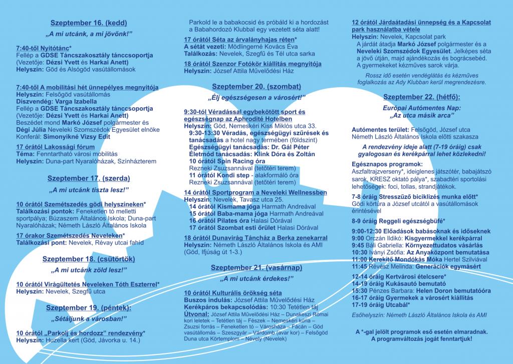 Európai Mobilitási Hét 2014 Göd Programfüzet