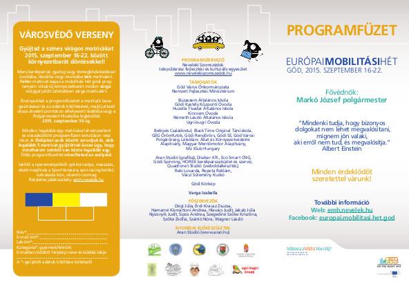 II. Európai Mobilitási hét Göd Programfüzet
